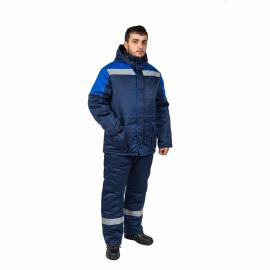 Костюм К-419 Норильск синий с васильковой отделкой